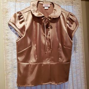 Gold satin cap sleeved peplum blouse size L